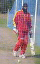 Abdool Samad wrapped up against the cold in the Maple Leaf CC nets, Toronto, October 9, 2008