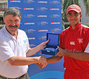 Zain Abbas receives his Man of the Match award from Tournament Referee David Dukes, ICC WCL Division 4 - 07.10.2008