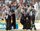 The New Zealand team celebrates its victory, Bangladesh v New Zealand, 2nd ODI, Mirpur, October 11, 2008
