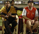 Royal Bengal Tigers coach Daryll Cullinan and stakeholder Mithun Chakraborty watch the match, Lahore Badshahs v Royal Bengal Tigers, ICL, Hyderabad, October 12, 2008