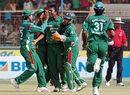 Team-mates congratulate Syed Rasel on dismissing Jesse Ryder, Bangladesh v New Zealand, 3rd ODI, Chittagong, October 14, 2008