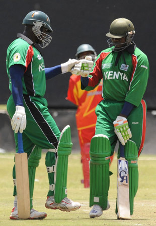 Thomas Odoyo congratulates Steve Tikolo for reaching his century, Kenya v Zimbabwe, 3rd ODI, Nairobi, Kenya Tri-Series, October 19, 2008