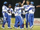 Delhi celebrate the wicket of Jimmy Maher, Delhi Giants v Hyderabad Heroes, ICL, Panchkula, November 1, 2008