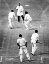 John Jameson is short of his crease as the ball deflects off Bhagwat Chandrasekhar's fingers onto the stumps, England v India, 3rd Test, The Oval, 4th day, August 23, 1971