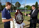 Nathan Rees and Dominic Thornely admire the Sheffield Shield Trophy, Sydney, November 3, 2008