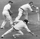 John Hampshire guides the ball past a diving Harry Latchman at slip, Middlesex v Yorkshire, County Championship, Lord's, 1st day, July 3, 1971