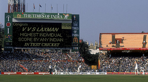 Mr Big: Laxman went past Sunil Gavaskar's 236 to take the Indian record for the highest Test score