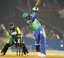 Abdul Razzaq steps out but mistimes the shot, Hyderabad Heroes v Lahore Badshahs, ICL 1st final, Ahmedabad, November 13, 2008
