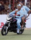 Mahendra Singh Dhoni and Yuvraj Singh savour the win, India v England, 1st ODI, Rajkot, November 14, 2008