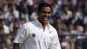 Sunil Joshi celebrates the wicket of Ashley Giles
