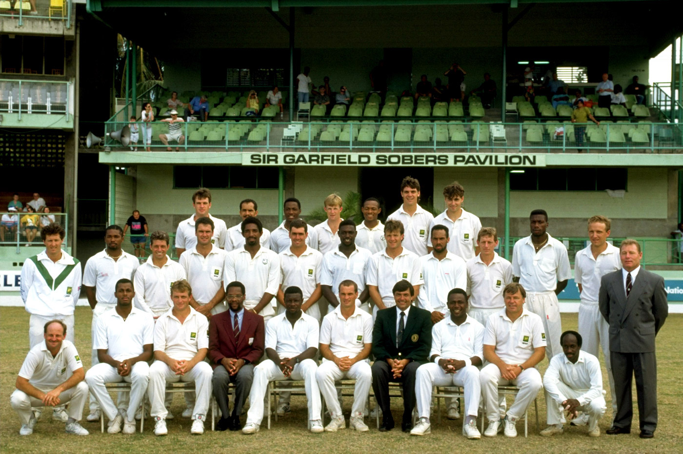The West Indian and South African squads before the historic match