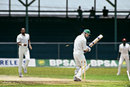 Andrew Hudson is bowled by Kenny Benjamin on the third day of the historic, West Indies v South Africa, Barbados, 21 April 1992, only Test