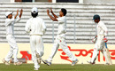 Dhaka batsman Anwar Hossain was dismissed by Saikat Ali, Dhaka Division v Sylhet Division, Mirpur, 2nd day, November 25, 2008