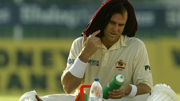 Matthew Hayden gets a much needed drink