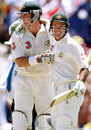Matthew Hayden and Ricky Ponting celebrate Australia's win