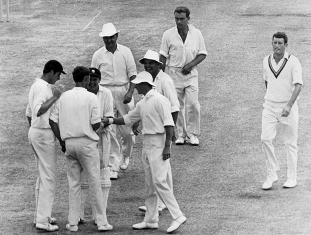 Pocock is congratulated for taking a wicket in Barbados, 1967-68