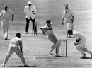 Alan Davidson plays and misses off John Wardle and the ball is caught by keeper Godfrey Evans, Australia v England, 4th Test, Adelaide, 5th day, February 2, 1955