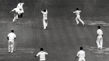 Hanif Mohammad runs out last man Jim McConnon to give Pakistan a 24-run win