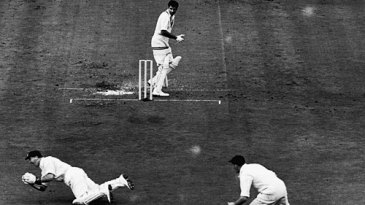 Peter Loader celebrates as Godfrey Evans catches Fazal Mahmood for a duck