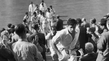 The Pakistan team, led out by Fazal Mahmood, leave the ground after levelling the series