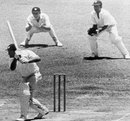 Tony Lock drives during his brief stay at the crease, West Indies v England, 5th Test, Georgetown, 5th day, April 3, 1968