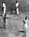 Neil Harvey is run out by Cyril Washbrook, Australia v England, MCG, 3rd day, December 26, 1950