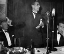 Neville Cardus makes a speech at the Cricket Writers' Club dinner for the touring West Indies side, 1950