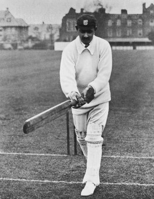 Ranjitsinhji exhibits his famous leg glance, circa 1910