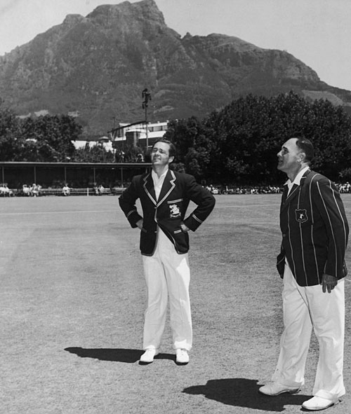 George Mann waits for Dudley Nourse to toss the coin at Newlands