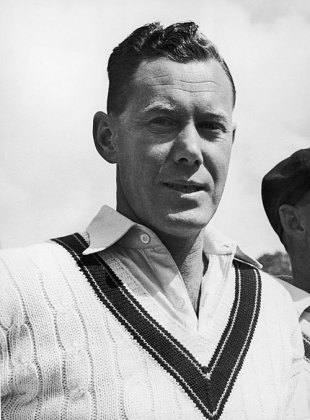 Bill Brown in the Australian line-up during a tour game, Worcestershire v Australians, Worcester, 1st day, April 28, 1948