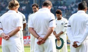 Players from both teams observe two minutes of silence before taking the field, India v England, 1st Test, Chennai, 1st day, December 11, 2008