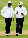 Umpires Amish Sahiba and Mark Benson have a look at the light meter, New Zealand v West Indies, 1st Test, Dunedin, 1st day, December 11, 2008