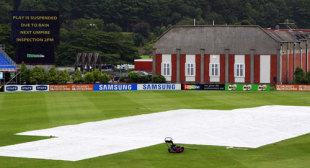 The covers are on at the University Oval, New Zealand v West Indies, 1st Test, Dunedin, 2nd day, December 12, 2008