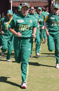Alison Hodgkinson leads South Africa out against Australia, South Africa v Australia, women's World Cup, Pretoria, March 28, 2005