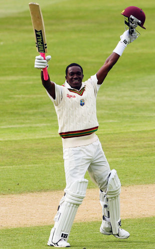 Jerome Taylor celebrates his maiden Test century, New Zealand v West Indies, 1st Test, Dunedin, 4th day, December 14, 2008