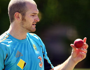 Jason Krejza looks at the ball during a practice session, Perth, December 14, 2008