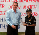 UAE captain Natasha Cherriath won the Player-of-the-Match award, Thailand v UAE, Chiang Mai Gymkhana, ACC U-19 women's tournament, Thailand, December 14, 2008