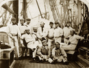England's 12 Champion Cricketers on board a ship at Liverpool bound for America in September 1859. Back row (from left to right): Bob Carpenter, William Caflyn, Tom Lockyer, John Wisden (seated), HH Stephenson, George Parr, John Grundy, Julius Cesar, Tom Hayward and John Jackson. Seated at front: Alfred Diver and John Lillywhite.