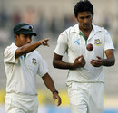 Mohammad Ashraful has a word with Shahadat Hossain