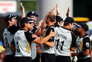 Ewen Thompson is congratulated on his first international wicket, New Zealand v West Indies, 2nd Twenty20, Hamilton, December 28, 2008