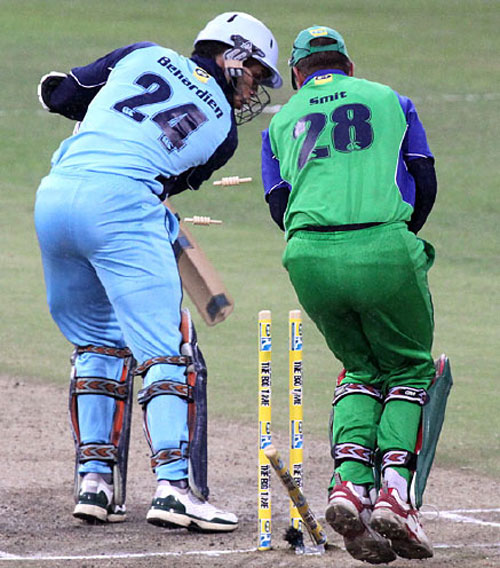 Farhaan Behardiem is bowled by Sanath Jayasuriya for a duck