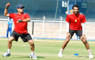 Sachin Tendulkar and Zaheer Khan take part in a practice session a day before Mumbai's Ranji Trophy semi-final against Saurashtra, Chennai, January 3, 2008