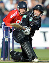 Daniel Flynn plays the sweep shot, England v New Zealand, Twenty20 international, Old Trafford, June 13, 2008