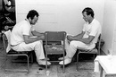 Michael Tame and Brian Davison play cribbage in the Tasmania dressing-room, Devonport, 1984-85