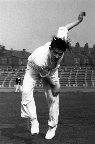 Fred Trueman bowls, May 1953