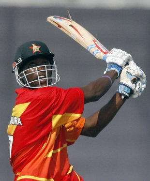Elton Chigumbura watches after dispatching the ball, Bangladesh v Zimbabwe, 1st ODI, Bangladesh tri-series, Mirpur, January 10, 2009