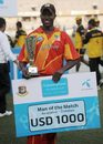Elton Chigumbura was named the Man of the Match, Bangladesh v Zimbabwe, 1st ODI, Bangladesh tri-series, Mirpur, January 10, 2009