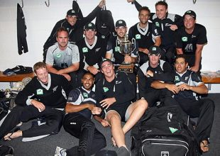 The New Zealand team celebrate in the dressing room after winning the ODI series 2-1, New Zealand v West Indies, 5th ODI, Napier, January 13, 2009