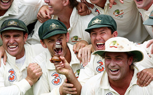 A beaming Ricky Ponting holds the Ashes urn with Matthew Hayden, Adam Gilchrist and Shane Warne, Australia v England, 3rd Test, Perth, December 18, 2006