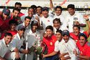 The victorious Mumbai team after winning the Ranji Trophy, Mumbai v Uttar Pradesh, Ranji Trophy final, 5th day, Hyderabad, January 16, 2009